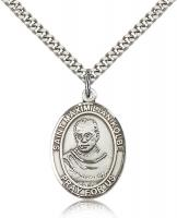 "Sterling Silver St. Maximilian Kolbe Pendant, Stainless Silver Heavy Curb Chain, Large Size Catholic Medal, 1"" x 3/4"""