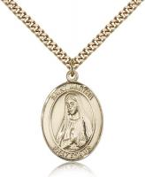 "Gold Filled St. Martha Pendant, Stainless Gold Heavy Curb Chain, Large Size Catholic Medal, 1"" x 3/4"""