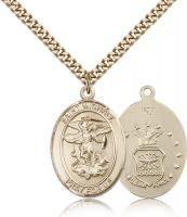 "Gold Filled St. Michael the Archangel Air Force Pendant, Stainless Gold Heavy Curb Chain, Large Size Catholic Medal, 1"" x 3/4"""