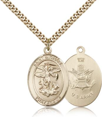 "Gold Filled St. Michael the Archangel Army Pendant, Stainless Gold Heavy Curb Chain, Large Size Catholic Medal, 1"" x 3/4"""