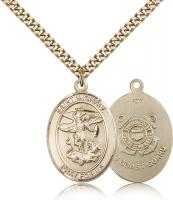 "Gold Filled St. Michael the Archangel Pendant, Stainless Gold Heavy Curb Chain, Large Size Catholic Medal, 1"" x 3/4"""