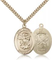 "Gold Filled St. Michael the Archangel National Guard Pendant, Stainless Gold Heavy Curb Chain, Large Size Catholic Medal, 1"" x 3/4"""