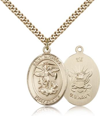 "Gold Filled St. Michael the Archangel Navy Pendant, Stainless Gold Heavy Curb Chain, Large Size Catholic Medal, 1"" x 3/4"""