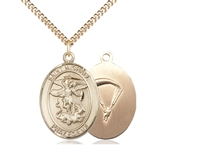 "Gold Filled St. Michael / Paratrooper Pendant, SG Heavy Curb Chain, Large Size Catholic Medal, 1"" x 3/4"""