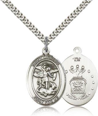 "Sterling Silver St. Michael the Archangel Pendant, Stainless Silver Heavy Curb Chain, Large Size Catholic Medal, 1"" x 3/4"""