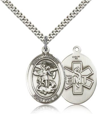 "Sterling Silver St. Michael / EMT Pendant, Stainless Silver Heavy Curb Chain, Large Size Catholic Medal, 1"" x 3/4"""