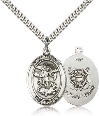 "Sterling Silver St. Michael the Archangel Coast Guard Pendant, Stainless Silver Heavy Curb Chain, Large Size Catholic Medal, 1"" x 3/4"""