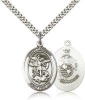 "Sterling Silver St. Michael the Archangel Marines Pendant, Stainless Silver Heavy Curb Chain, Large Size Catholic Medal, 1"" x 3/4"""