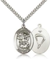 "Sterling Silver St. Michael / Paratrooper Pendant, Stainless Silver Heavy Curb Chain, Large Size Catholic Medal, 1"" x 3/4"""