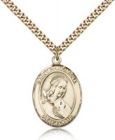 "Gold Filled St. Philomena Pendant, Stainless Gold Heavy Curb Chain, Large Size Catholic Medal, 1"" x 3/4"""