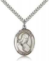"Sterling Silver St. Philomena Pendant, Stainless Silver Heavy Curb Chain, Large Size Catholic Medal, 1"" x 3/4"""