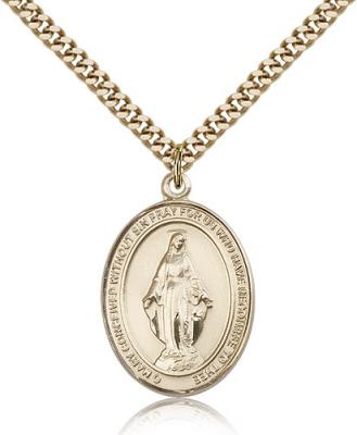 "Gold Filled Miraculous Pendant, Stainless Gold Heavy Curb Chain, Large Size Catholic Medal, 1"" x 3/4"""