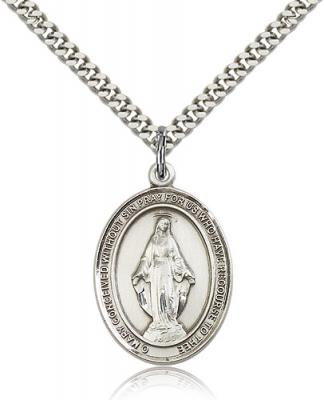 "Sterling Silver Miraculous Pendant, Stainless Silver Heavy Curb Chain, Large Size Catholic Medal, 1"" x 3/4"""