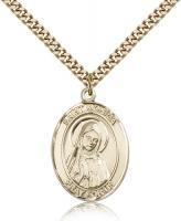 "Gold Filled St. Monica Pendant, Stainless Gold Heavy Curb Chain, Large Size Catholic Medal, 1"" x 3/4"""