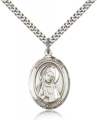 "Sterling Silver St. Monica Pendant, Stainless Silver Heavy Curb Chain, Large Size Catholic Medal, 1"" x 3/4"""