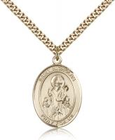 "Gold Filled St. Nicholas Pendant, Stainless Gold Heavy Curb Chain, Large Size Catholic Medal, 1"" x 3/4"""