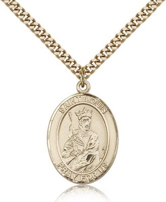 "Gold Filled St. Louis Pendant, Stainless Gold Heavy Curb Chain, Large Size Catholic Medal, 1"" x 3/4"""