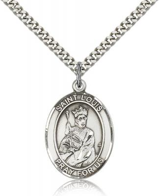 "Sterling Silver St. Louis Pendant, Stainless Silver Heavy Curb Chain, Large Size Catholic Medal, 1"" x 3/4"""