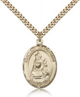 "Gold Filled Our Lady of Loretto Pendant, Stainless Gold Heavy Curb Chain, Large Size Catholic Medal, 1"" x 3/4"""