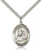 "Sterling Silver Our Lady of Loretto Pendant, Stainless Silver Heavy Curb Chain, Large Size Catholic Medal, 1"" x 3/4"""