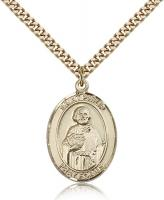 "Gold Filled St. Philip Neri Pendant, Stainless Gold Heavy Curb Chain, Large Size Catholic Medal, 1"" x 3/4"""
