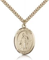 "Gold Filled St. Patrick Pendant, Stainless Gold Heavy Curb Chain, Large Size Catholic Medal, 1"" x 3/4"""