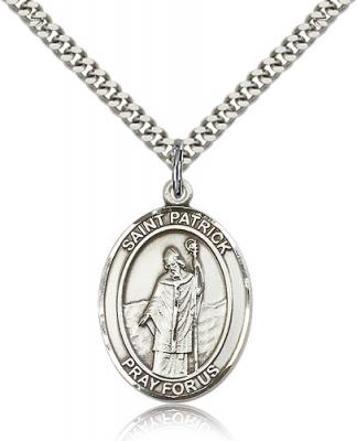 "Sterling Silver St. Patrick Pendant, Stainless Silver Heavy Curb Chain, Large Size Catholic Medal, 1"" x 3/4"""