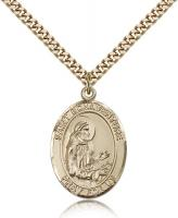 "Gold Filled St. Bonaventure Pendant, Stainless Gold Heavy Curb Chain, Large Size Catholic Medal, 1"" x 3/4"""