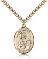 "Gold Filled St. Paul the Apostle Pendant, Stainless Gold Heavy Curb Chain, Large Size Catholic Medal, 1"" x 3/4"""