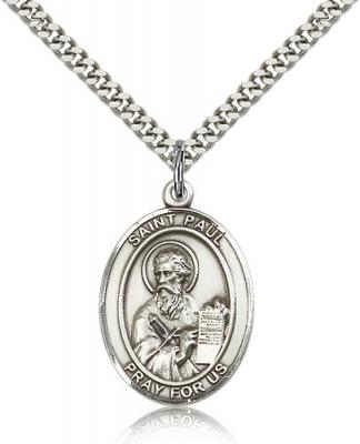"Sterling Silver St. Paul the Apostle Pendant, Stainless Silver Heavy Curb Chain, Large Size Catholic Medal, 1"" x 3/4"""