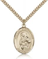 "Gold Filled Our Lady of Providence Pendant, Stainless Gold Heavy Curb Chain, Large Size Catholic Medal, 1"" x 3/4"""