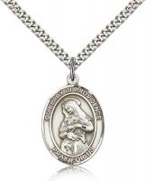 "Sterling Silver Our Lady of Providence Pendant, Stainless Silver Heavy Curb Chain, Large Size Catholic Medal, 1"" x 3/4"""