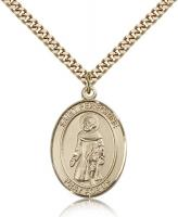 "Gold Filled St. Peregrine Laziosi Pendant, Stainless Gold Heavy Curb Chain, Large Size Catholic Medal, 1"" x 3/4"""