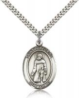 "Sterling Silver St. Peregrine Laziosi Pendant, Stainless Silver Heavy Curb Chain, Large Size Catholic Medal, 1"" x 3/4"""