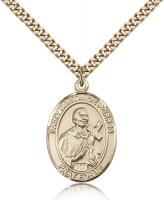 "Gold Filled St. Martin de Porres Pendant, Stainless Gold Heavy Curb Chain, Large Size Catholic Medal, 1"" x 3/4"""