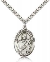 "Sterling Silver St. Martin de Porres Pendant, Stainless Silver Heavy Curb Chain, Large Size Catholic Medal, 1"" x 3/4"""