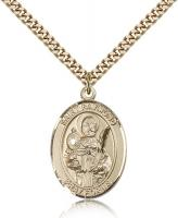 "Gold Filled St. Raymond Nonnatus Pendant, Stainless Gold Heavy Curb Chain, Large Size Catholic Medal, 1"" x 3/4"""