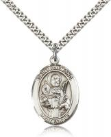 "Sterling Silver St. Raymond Nonnatus Pendant, Stainless Silver Heavy Curb Chain, Large Size Catholic Medal, 1"" x 3/4"""