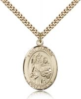 "Gold Filled St. Raphael the Archangel Pendant, Stainless Gold Heavy Curb Chain, Large Size Catholic Medal, 1"" x 3/4"""