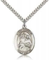 "Sterling Silver St. Raphael the Archangel Pendant, Stainless Silver Heavy Curb Chain, Large Size Catholic Medal, 1"" x 3/4"""