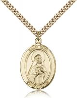 "Gold Filled St. Rita of Cascia Pendant, Stainless Gold Heavy Curb Chain, Large Size Catholic Medal, 1"" x 3/4"""