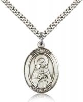 "Sterling Silver St. Rita of Cascia Pendant, Stainless Silver Heavy Curb Chain, Large Size Catholic Medal, 1"" x 3/4"""
