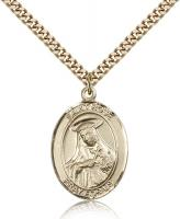 "Gold Filled St. Rose of Lima Pendant, Stainless Gold Heavy Curb Chain, Large Size Catholic Medal, 1"" x 3/4"""