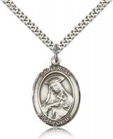 "Sterling Silver St. Rose of Lima Pendant, Stainless Silver Heavy Curb Chain, Large Size Catholic Medal, 1"" x 3/4"""