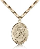 "Gold Filled St. Robert Bellarmine Pendant, Stainless Gold Heavy Curb Chain, Large Size Catholic Medal, 1"" x 3/4"""