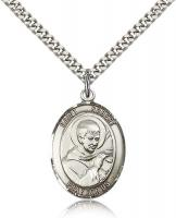 "Sterling Silver St. Robert Bellarmine Pendant, Stainless Silver Heavy Curb Chain, Large Size Catholic Medal, 1"" x 3/4"""
