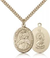 "Gold Filled Scapular Pendant, Stainless Gold Heavy Curb Chain, Large Size Catholic Medal, 1"" x 3/4"""