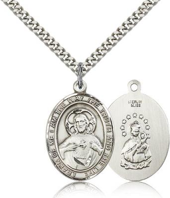 "Sterling Silver Scapular Pendant, Stainless Silver Heavy Curb Chain, Large Size Catholic Medal, 1"" x 3/4"""