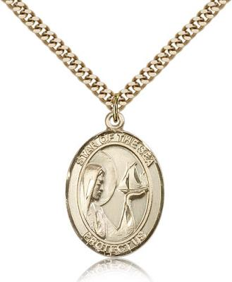 "Gold Filled Our Lady Star of the Sea Pendant, Stainless Gold Heavy Curb Chain, Large Size Catholic Medal, 1"" x 3/4"""