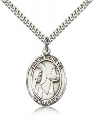 "Sterling Silver Our Lady Star of the Sea Pendant, Stainless Silver Heavy Curb Chain, Large Size Catholic Medal, 1"" x 3/4"""